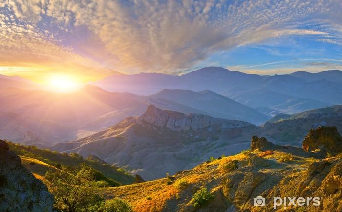 Afwasbaar Fotobehang Zonsopkomst in de bergen - Thema's