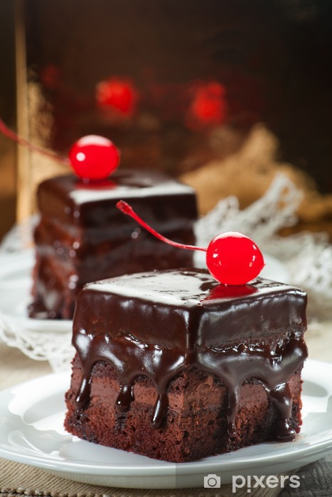 Chocolate coated fudge with candied cherry Vinyl Wall Mural - Sweets and Desserts