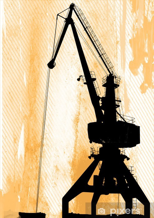 Vinilo Pixerstick Grua en el puerto - Infraestructuras