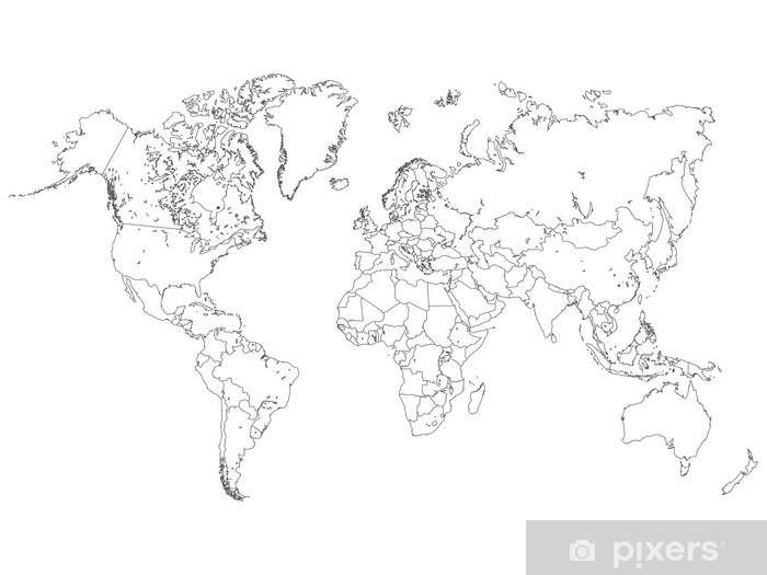 World Map Outline Illustration Sticker - Pixerstick