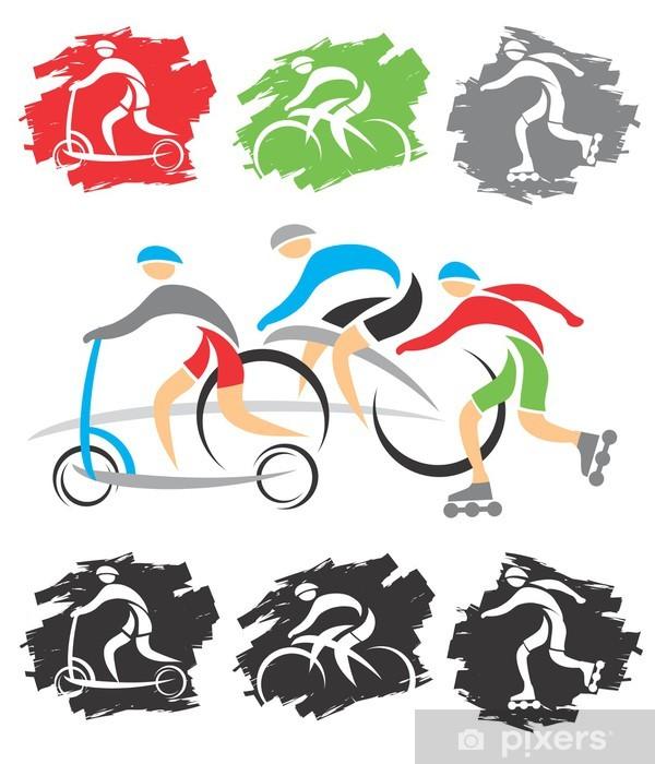 Papier peint vinyle Sur le chemin des icônes de vélo - Sports individuels