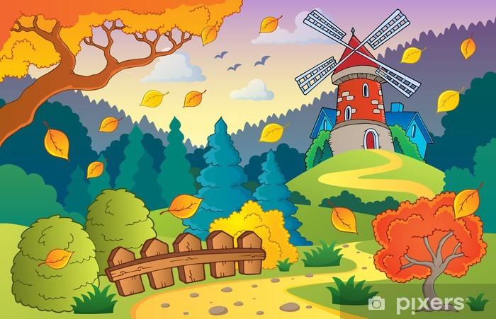 Naklejka Pixerstick Jesienią krajobraz z wiatrakiem 1 - Pory roku