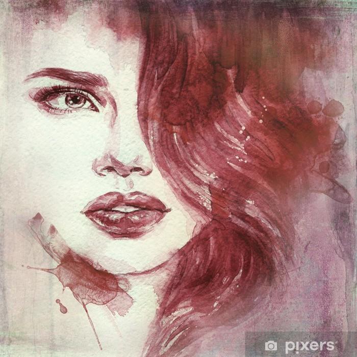 Kvinde portræt. abstrakt akvarel. mode baggrund Vaskbare fototapet -