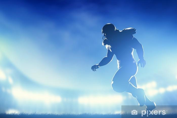 Pixerstick Sticker American football spelers in het spel, hardlopen. Stadion lichten - American Football