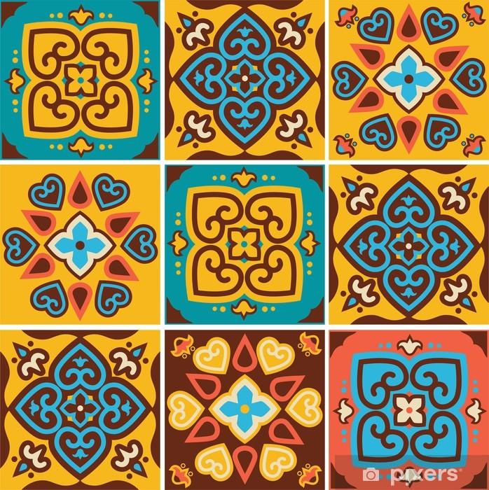 Pixerstick Sticker De traditionele keramische tegels patronen - Kunst en Creatie