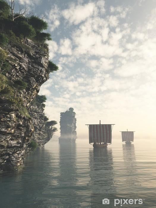Papier peint vinyle Longships Viking dans des eaux inconnues - Thèmes