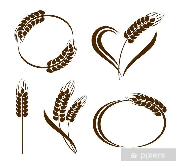 Fototapeta winylowa Zestaw ikon abstrakcyjne kłosy pszenicy - Posiłki