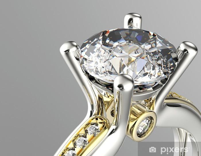 Papier peint vinyle Golden Ring avec le diamant. Bijoux fond - Destin