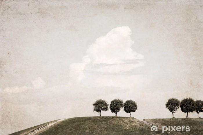 Vinyl-Fototapete Kunstwerk im Retro-Stil, Landschaft - Bäume