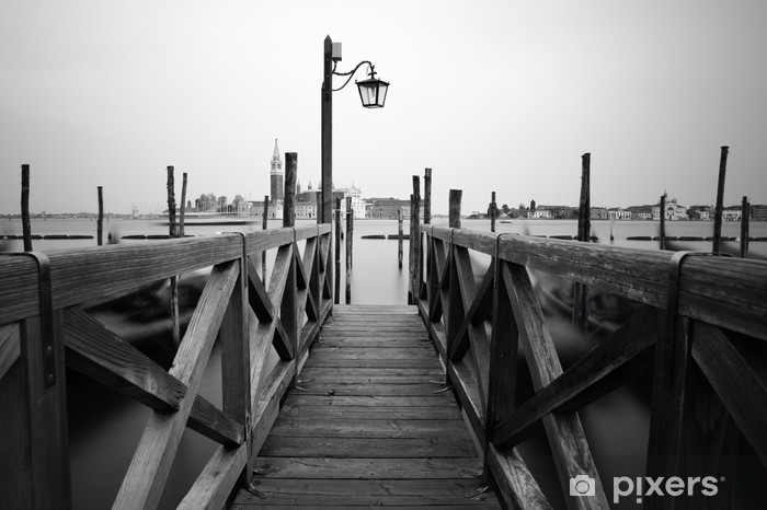 Black and white photo of Venice seafront Pixerstick Sticker - Themes