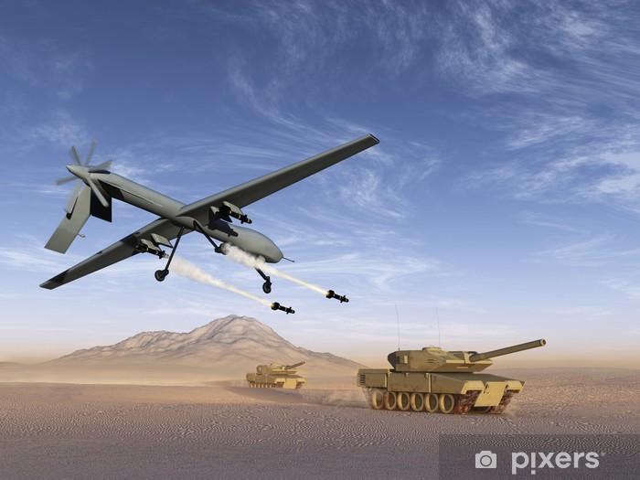 Fototapeta winylowa Drone ataku czołgów - Tematy
