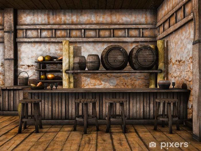 Carta da parati bancone in legno e sgabelli in una taverna