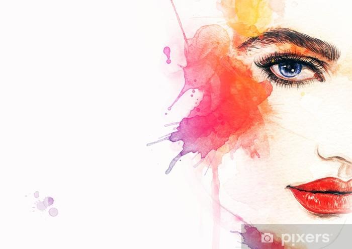 Fototapeta winylowa Piękna twarz kobiety. Akwarele ilustracji - Tematy