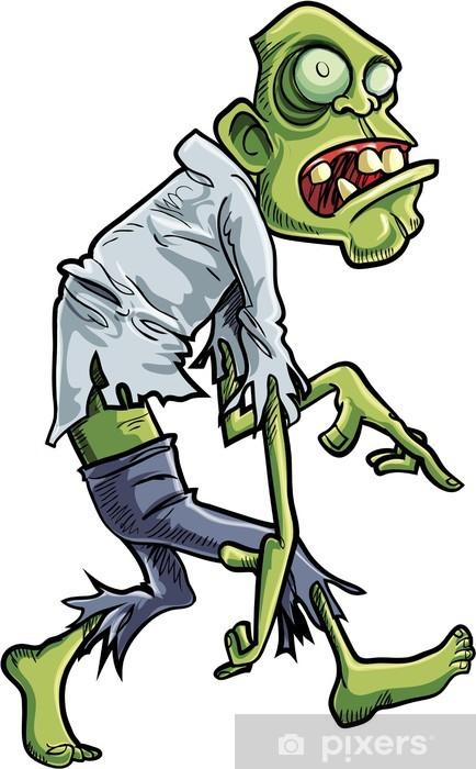 Mural de Parede em Vinil Cartoon stalking zombie with big eyes - Temas