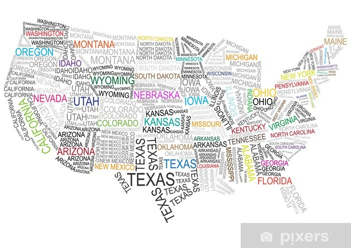United States Map Wall Mural.Color Vector United States Map Made Of Words Wall Mural Pixers