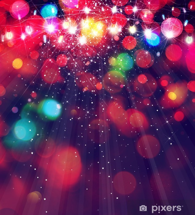 Colorful Christmas Lights Background.Wall Mural Vinyl Colorful Christmas Lights Background