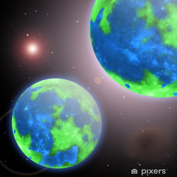 Fototapeta winylowa Planeta Ziemia i jej bliźniaczy w nieskończonym wszechświecie - Przestrzeń kosmiczna