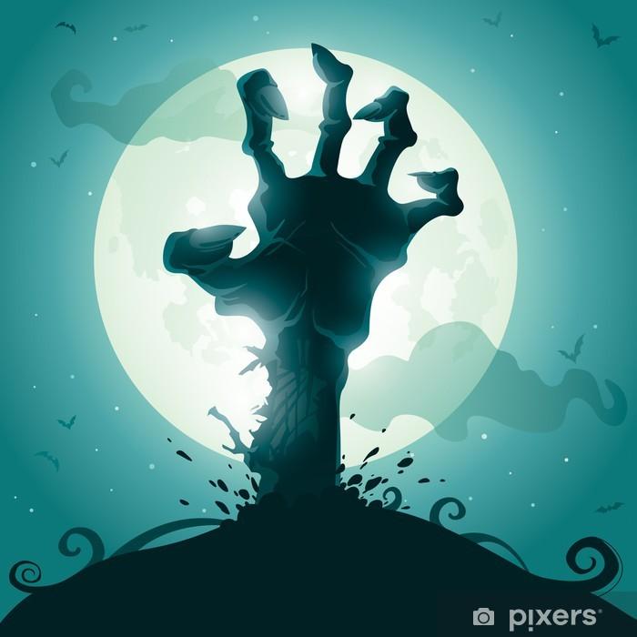 Papier peint vinyle Halloween background avec la main de zombie sur la pleine lune - Thèmes