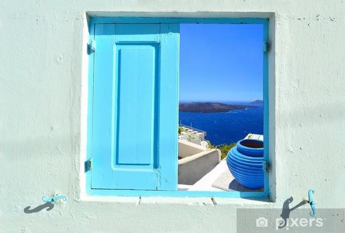 Concept of view into beauty of Greece - Santorini Pixerstick Sticker - Europe