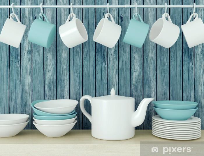 Naklejka Pixerstick Ceramiczne naczynia kuchenne na półce. - Tematy