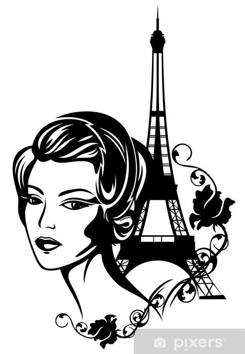 Dørklistremerke Fransk chic mote portrett - Europeiske byer