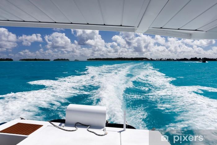 Naklejka Pixerstick Jacht żaglowy w tropikalnym raju - Transport wodny