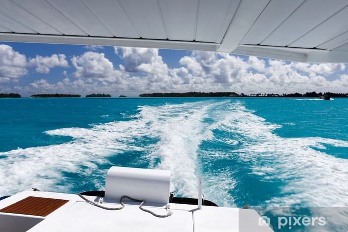 Yacht sailing in a tropical paradise Vinyl Wall Mural - Boats