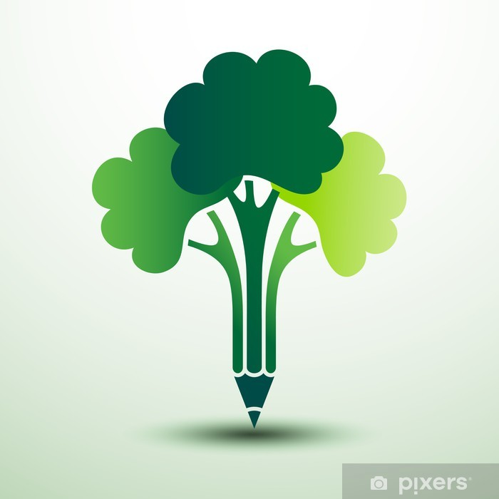 Papier peint vinyle Crayon de Green tree idée créative, illustration vectorielle - Concepts