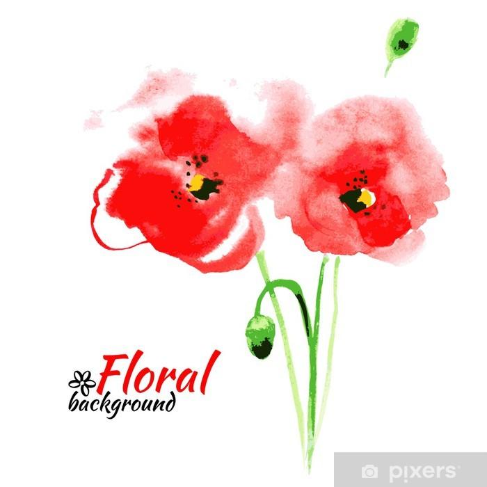 Fototapete Schöne Aquarell Malen Rote Mohnblume Vektor Illustration