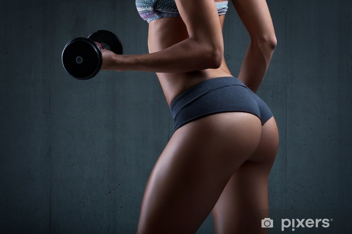 Very sexy young beautiful ass in thong. Beautiful athletic woman Vinyl Wall Mural - Health