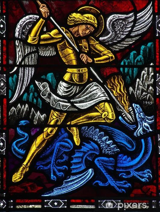 Fototapeta winylowa Anioł michael walcząc ze smokiem - Tematy