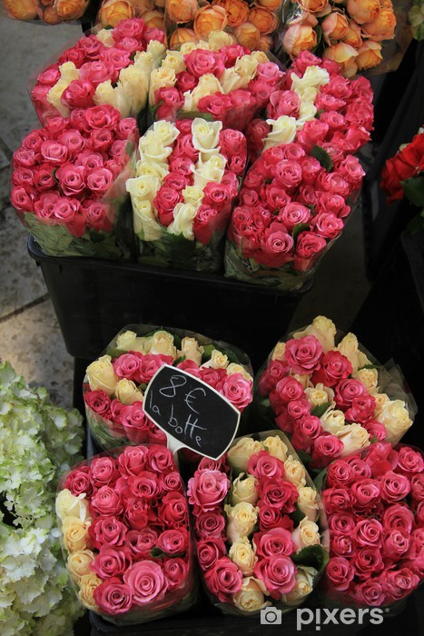 Sticker Pixerstick Rose bouquets au marché - Vente