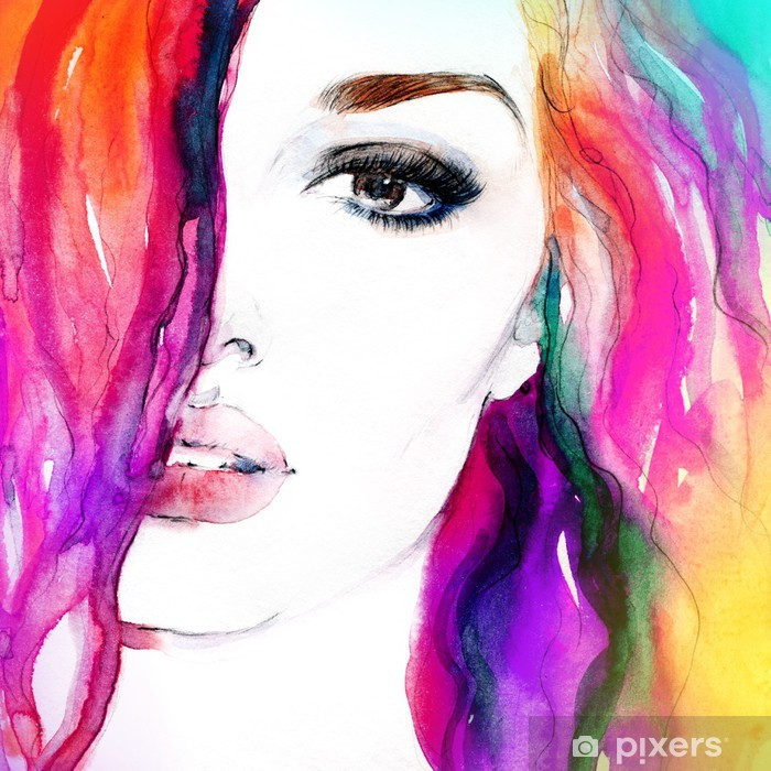 woman portrait .abstract watercolor .fashion background Pixerstick Sticker - Themes