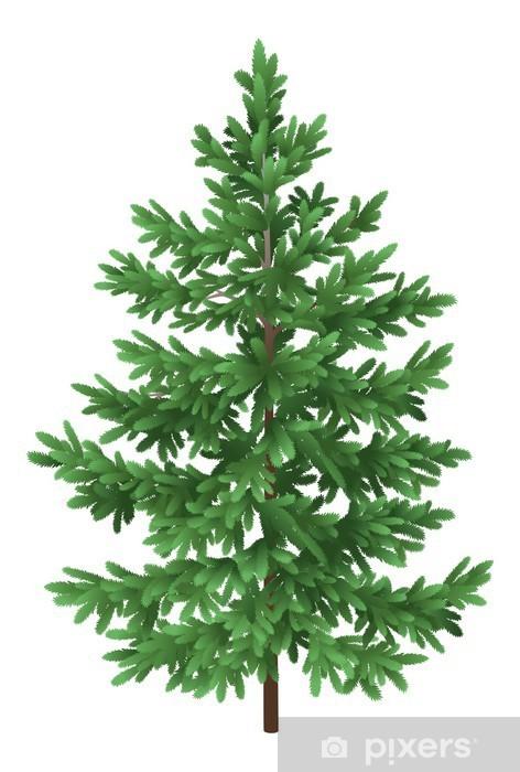 Sticker Pixerstick Arbre de Noël épinette vert sapin isolé - Fêtes internationales