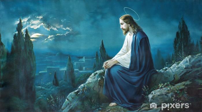 Pixerstick Sticker Het gebed van Jezus in Gethsemane tuin. - Thema's