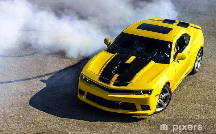 Sticker Pixerstick Luxe voiture sport jaune - Sur la route