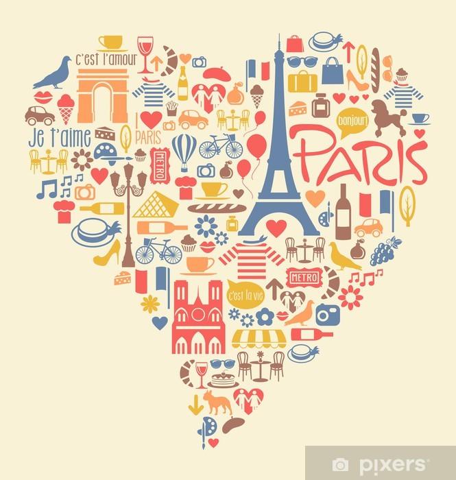 Fototapeta winylowa Paryż Francja ikony zabytki atrakcje w kształcie serca - Europa
