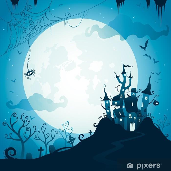 Papier peint vinyle Château Halloween - Lune
