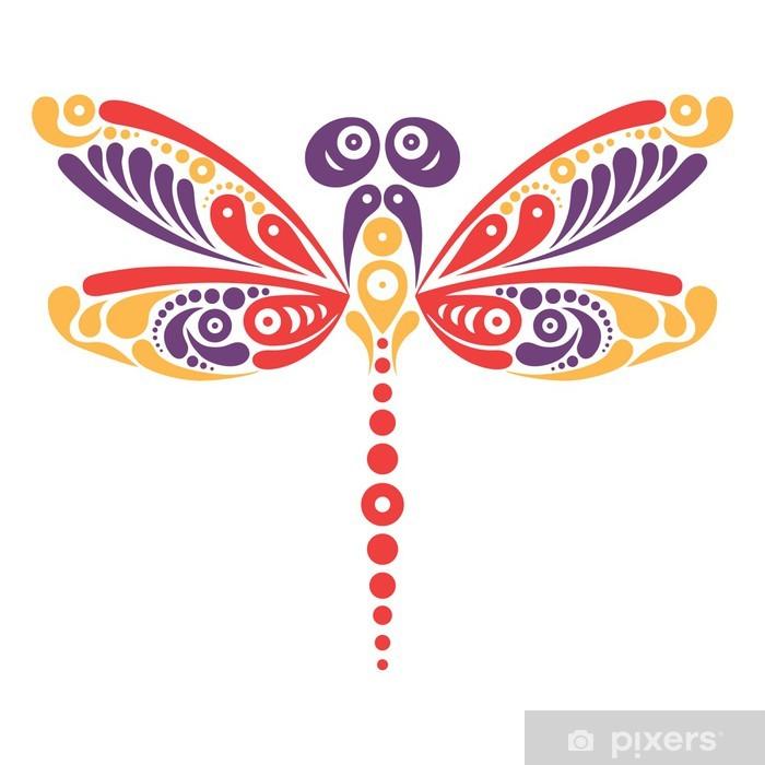 Naklejka Piękna Ważka Tatuaż Artystyczny Kształt Motyla Wzór Pixerstick