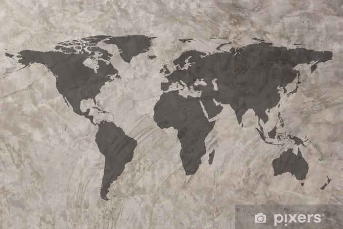 Pixerstick Sticker Wereldkaart op grunge betonnen muur textuur achtergrond - Thema's
