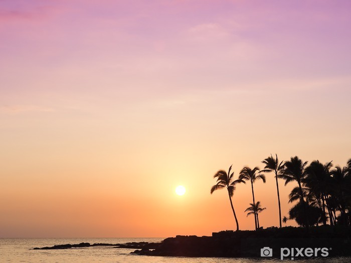 Vinyl Fotobehang Zonsondergang van het Eiland van Hawaï - Water