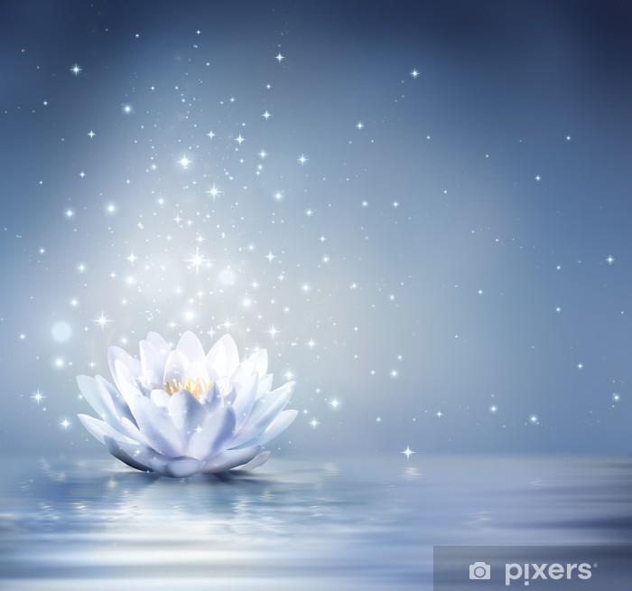 Pixerstick Sticker Waterlelie lichtblauw op water - sprookjesachtige achtergrond - Religie