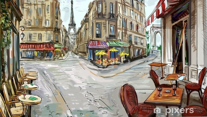 Vinyl-Fototapete Street in paris - illustration - Themen