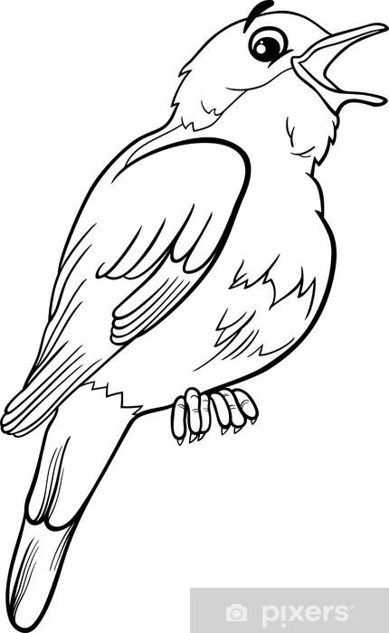 Kleurplaten Over Vogels.Sticker Nachtegaal Vogel Kleurplaat Pixerstick