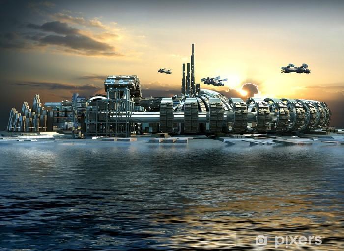 Fototapeta winylowa Science fiction miasto z metalowych struktur pierścieniowych na wodzie - Czas