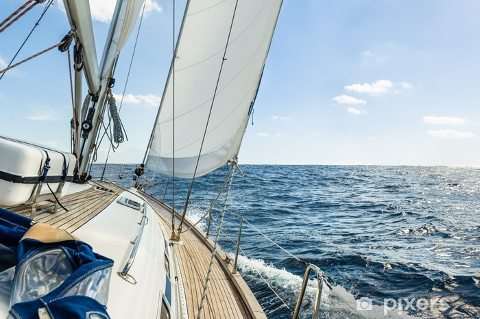 Yacht sail in the Atlantic ocean at sunny day cruise Pixerstick Sticker - iStaging