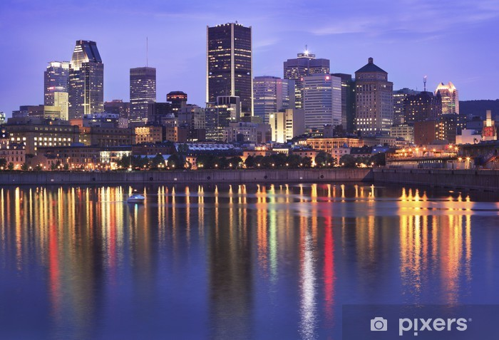 Montreal skyline at dusk, Quebec, Canada Vinyl Wall Mural - America