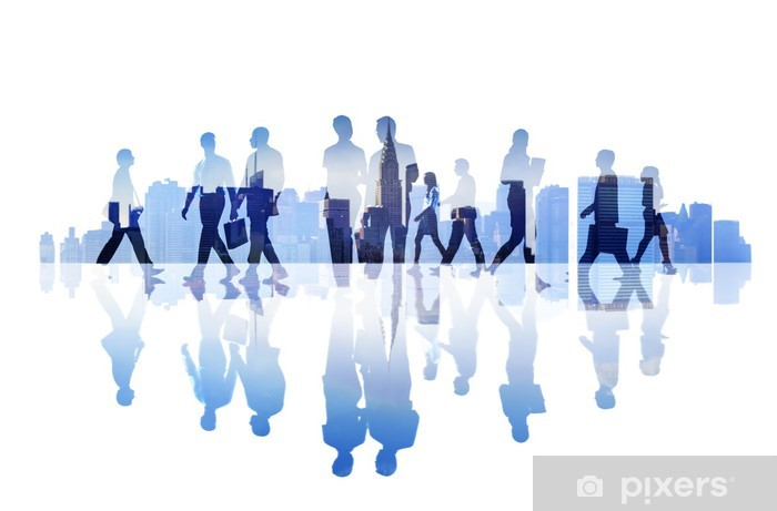 Abstract Image of Business People's Busy Life Pixerstick Sticker - Groups and Crowds