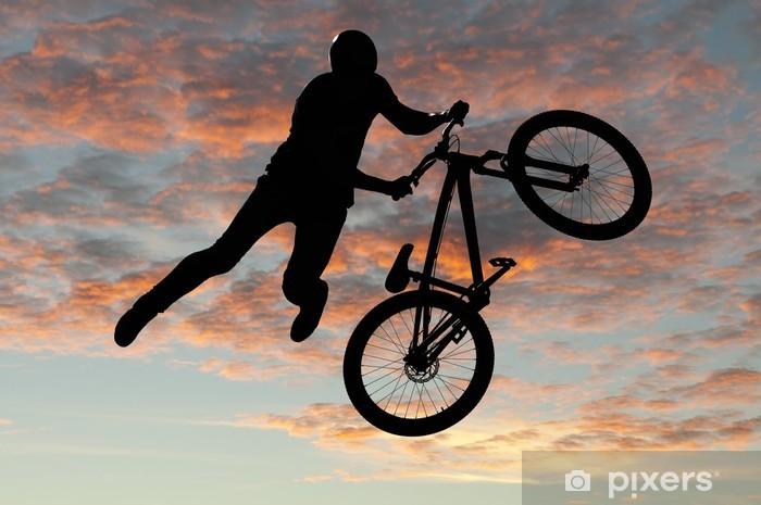 Sticker Pixerstick Silhouette cycliste sportif bmx en action avec un fond de paysage - Cyclisme