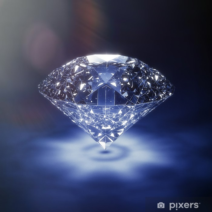 Sticker Pixerstick Luxe diamant bleu fond - avec lensflare - Signes et symboles